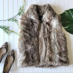 Forever 21 fur vest brown tan faux